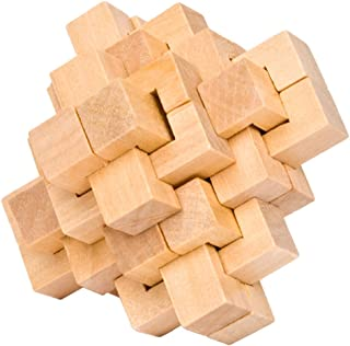 KINGOU Wooden Puzzle 24 PCS Interlocking Brain Teasers Toy Intelligence Game Logic Burr Puzzles for Adults//Kids