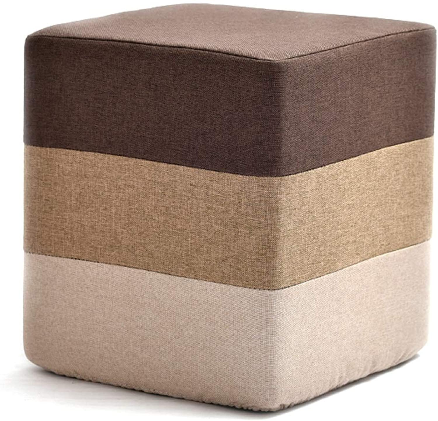 Linen Sofa Bench, colorful Leisure Footstool, Small Seat Modern Furniture, Removable Cover and High Elastic Sponge, Suitable for Bedroom Living Room (color   Brown, Size   Cube)