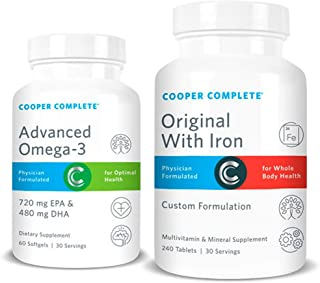 Cooper Complete - Original Multivitamin with Iron and Advanced Omega-3 - Daily Multivitamin and Mineral Supplement Plus Fish Oil Supplement - 30 Day Supply