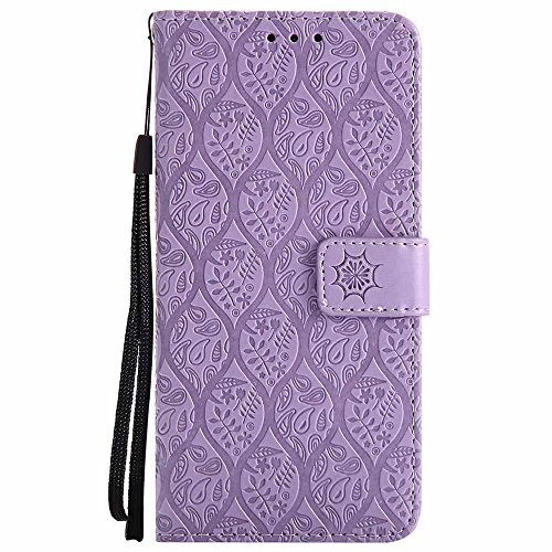 Galaxy S8 Hülle, Premium Veganes Leder Elegantes Geprägtes Blumenmuster Slim Ständer Flip Brieftasche Schutzhülle für Samsung Galaxy S8, Violett