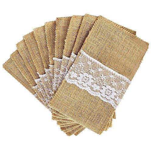 MLXG - Lote de 50 piezas de yute natural para cuchillos y tenedores de cubiertos, porta-bolsos de plata, tela de yute y encaje, decoración de boda de fiesta, 21 x 11 cm