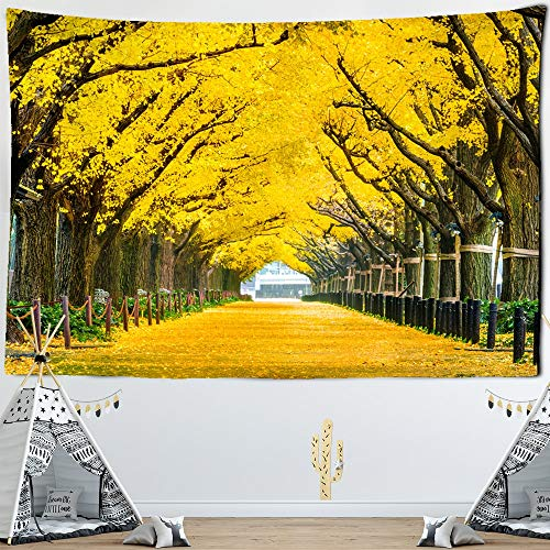 KHKJ Goldene Blätter Pflanzen Landschaft Wandteppich Landschaft...