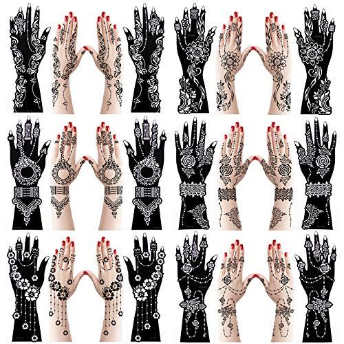 XMASIR 12 Feuilles Pochoir Tatouage Henné, Modèles Tatouage Temporaire La Main Henné, Autocollant Tatouage Auto Adhésif Arabe Indien Pour La Peinture D'art Corporel La Main Pour Adultes Femmes