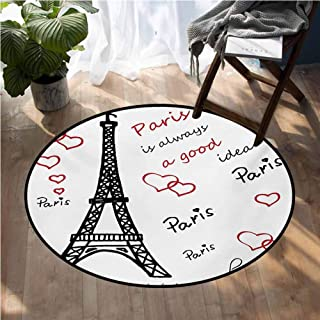 Eiffel Tower Kitchen Rugs Non Skid Washable Eiffel Paris is Always a Good Idea Tourism Locations Love Valentines Circle Rugs for Living Room D66 Inch