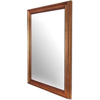 Art Street Synthetic Wood Wall Mirror (15 x 21 inch, Gold)