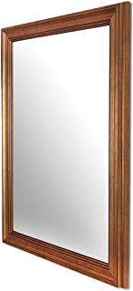 Art Street Synthetic Wood Wall Mirror (mirror inner size : 12 x 24 inch , outer size : 15 x 27 inch, Gold)