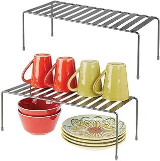 mDesign étagère cuisine (lot de 2) – rangement cuisine autoportant en métal – range vaisselle de cuisine très grand pour t...
