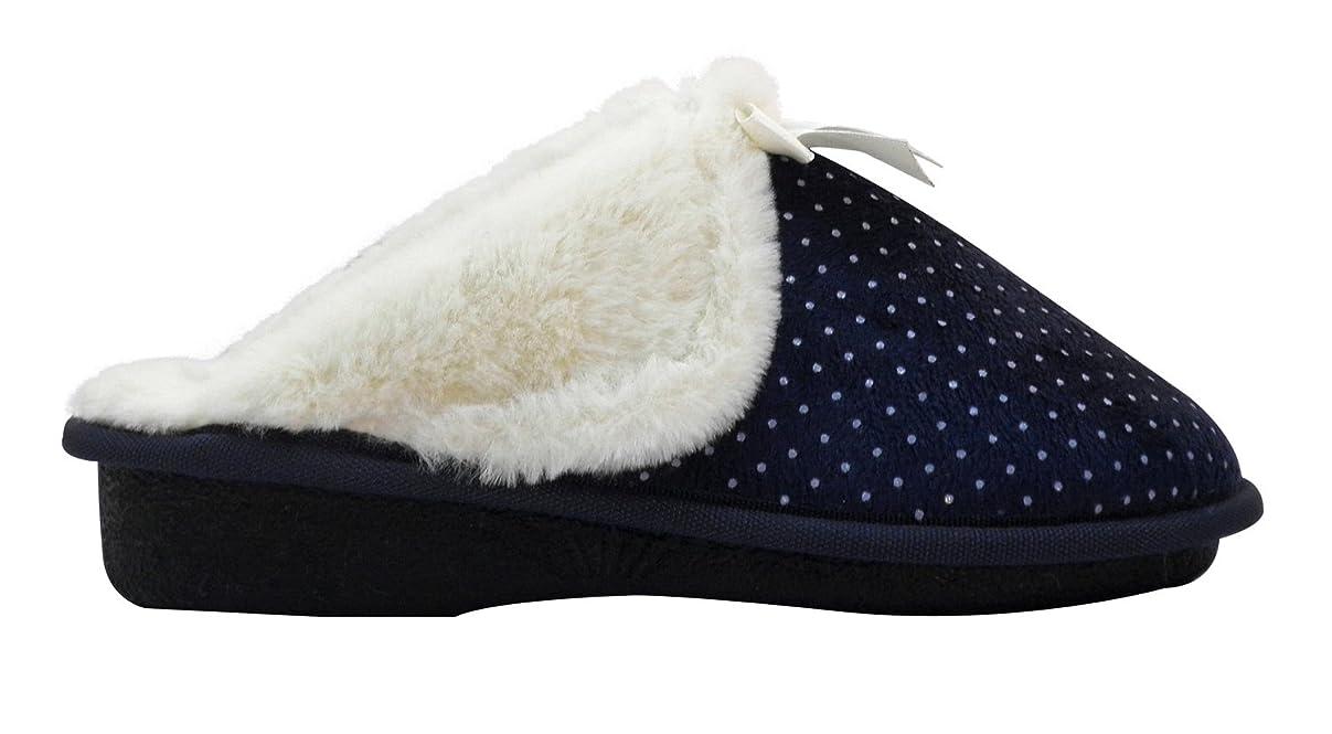 逃げる支配するどっちでもAski slippers- Bow Cozy、スーパー快適なスリッパの女性?–?Faux fur withメモリフォームクッションFootwear