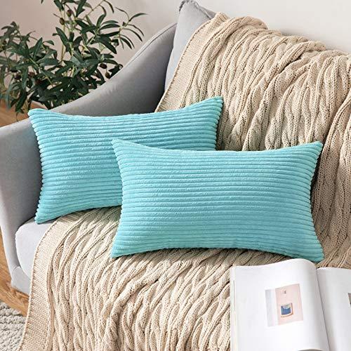 MIULEE Funda Protectore Cojín Cojines de Almohada Decorativa Cuadrado Corduroy Pana a Rayas Moderna Suave para Sofá Silla Cama Sala de Estar Dormitorio 30x50cm 2 Piezas Azul Claro