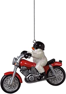 Midwest CBK Snowman on Motorcycle Ornament