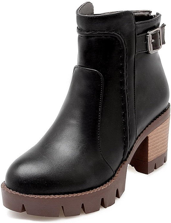 AllhqFashion Women's Low-top Solid Zipper Round Closed Toe Kitten-Heels Boots