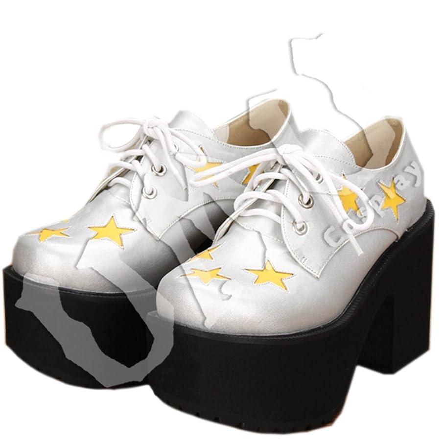 会う会う定数【UMU】 LOLITA ロリータ 星 ハイヒール 銀 エナメル 風 靴 オーダーメイド(ヒール高、材質、靴色は変更可能!) (足27.5cm)