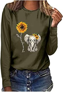 Shirts with Sayings for Women Long Sleeve Fall You are My Sunshine Sunflowers Cute Graphic Tees Peace and Love T-Shirt