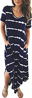 Women's Casual Chiffon Striped Short Sleeved Pocket Split Irregular Hem Long Beach Dress