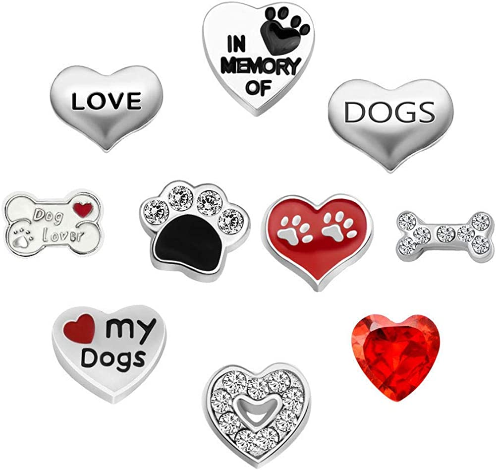Lifequeen Heart Love Dog Floating Charms Animal Charm for Glass Locket Necklace