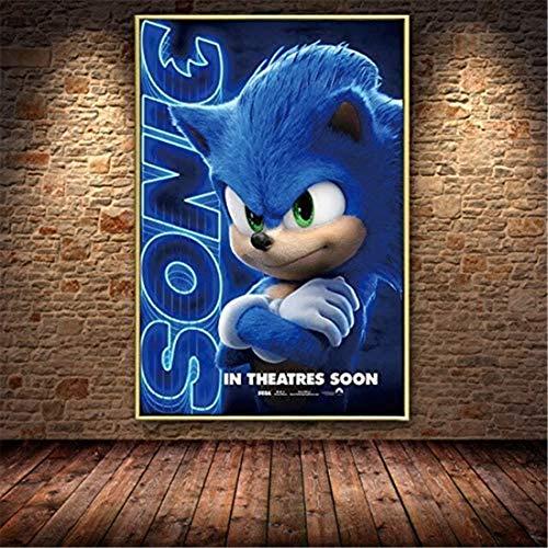 Refosian Cartoon Sonic Hedgehog Blue Flash Filmplakat Leinwand Malerei Poster und Druckerei Wandmalerei Bild für Kinderzimmer Wohnzimmer 50X70Cm -F644