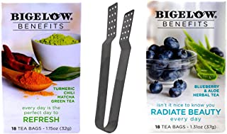 Bigelow Benefits Caffeine Free Herbal Green Tea 2 Flavor Variety with Teabag Squeezer Bundle: (1) Refresh, and (1) Radiate Beauty (18 Count Boxes)