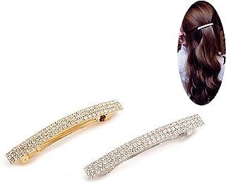 PPX Barrette Pince à Cheveux en Strass à Trois Rangs avec Pince à Cheveux en Cristal Bling, Or et Argent(3 rows of diamonds)