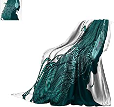 Luckyee Throw Blanket Music Decor Collection,DJ Girl Profile with Long Hair in Headphones Nightclub Silhouettes Party Picture,Teal White Print Digital Printing Blanket Bed or Couch 60