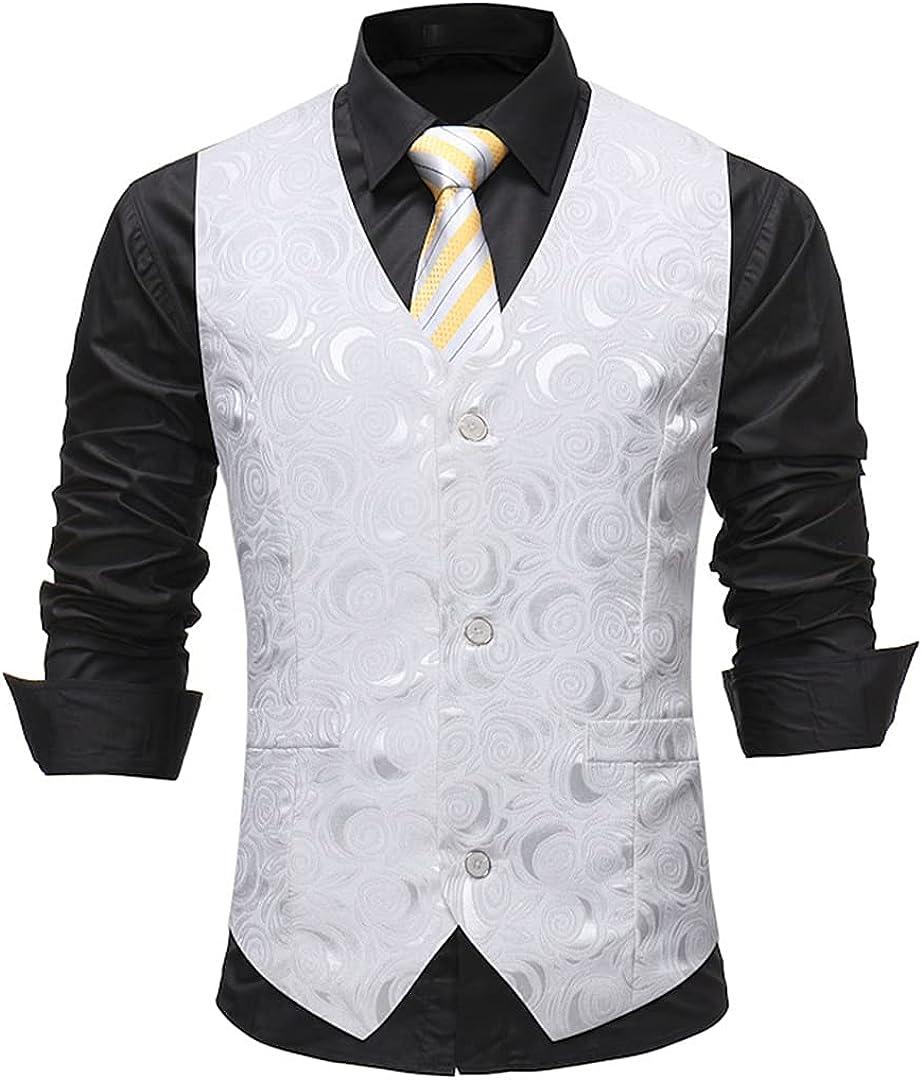 Gentleman White Single Breasted Suit Vest Mens Rose Printed Wedding Dress Vest Tuxedo Waistcoat