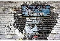 良いアイデアは、コーヒーキャンバスの絵画バンクシーのポスターとプリントから始まりますグラフィティストリートポップアートリビングルームの抽象的な壁の写真40x60cmフレームなし