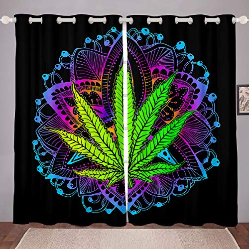 "Marijuana Leaf Curtains Green Cannabis Leaves Window Curtains Boho Blue Purple Mandala Printed Window Drapes Bohemian Exotic Trippy Marijuana Weed Leaves Curtain Panels, 2 Panels 42""X63"""