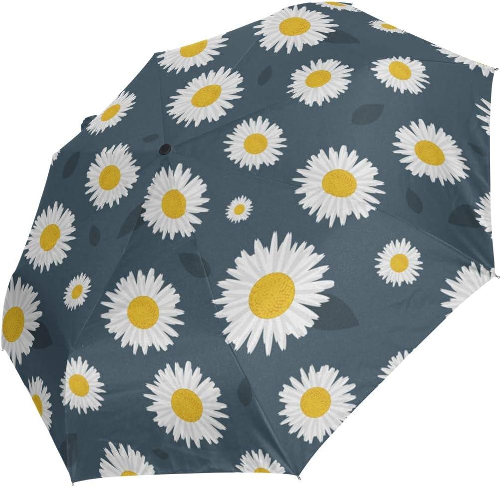Mini Max 85% OFF Folding Umbrella White Little Grey Windp Deluxe Daisy Pattern Dark