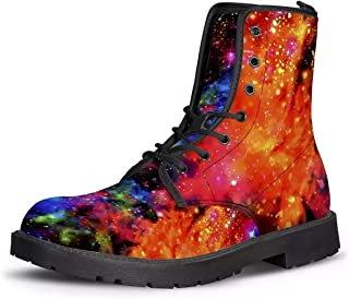 Galaxy Space Combat Boots for Women Girl Winter Shoes with Low Heel Flat Booties Footwear Water Reistant PU Leather