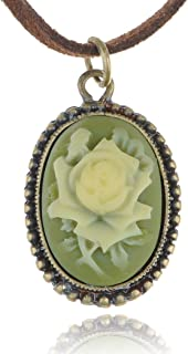 Alilang Antique Golden Tone Vintage Faux Suede Green Enamel Rose Oval Pendant Necklace