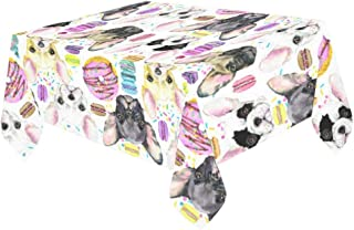 Ashsprt Watercolor Puppy French Bulldog with Sweet Macarons Dessert Polyester Tablecloth/Table Cover Oblong Tabletop Decoration