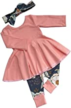 Toddler Baby Girl Clothes Solid Color Ruffle Tops Floral Pants with Headband Outfit Set