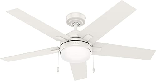 """popular Hunter Bartlett Indoor Ceiling Fan with LED Light and Pull Chain Control, 52"""", lowest Fresh sale White outlet sale"""