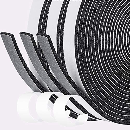 fowong Offenzelliges Selbstklebend Schaumstoff Klebeband 12mm(B) x3mm(D) Türdichtung Dichtungsband Klimaanlage Kollision Siegel Schalldämmung Kompriband Gesamtlänge 15m (3 Rollen je 5m lang)
