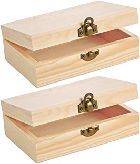 Caydo 2 Pieces Unfinished Wood Box with Hinged Lid and Front Clasp for Crafts, Art, Hobbies and Home Storage, 6