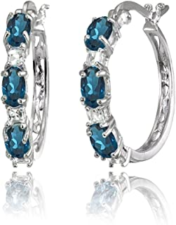 Sterling Silver Oval Genuine, Created or Simulated Gemstone & Princess-cut White Topaz Filigree Hoop Earrings