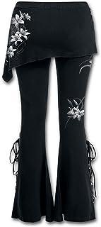 SANJIBAO Bordado Casual de Las Mujeres Pantalones Acampanados Leggings Negros con Cordones Falda de los Pantalones del Ven...