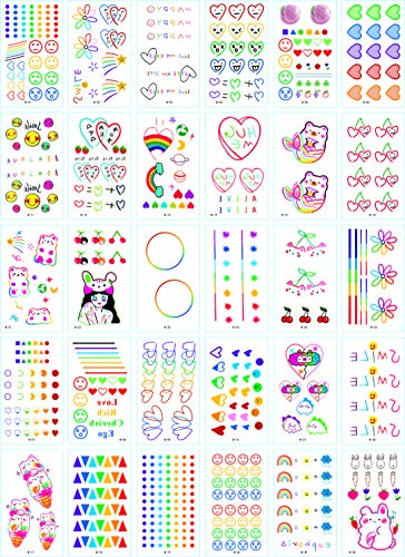 30 pieces of temporary tattoo stickers, suitable for adults and children, rainbow color, colorful, star with cute sexy waterproof temporary tattoo