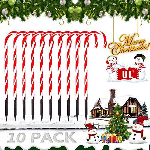 Christmas Candy Cane Pathway Marker Lights,LED Yard Lawn Pathway Markers Outdoor Candy Pathway Markers Christmas Indoor/Outdoor Decoration Lights UL588 Certified,18ft Length (Orange)