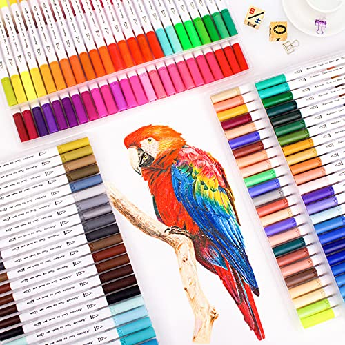 Rotuladores Lettering, 24 Colores Rotuladores Doble Punta Pincel Rotulador Doble Punta, Dual Tip Brush Pen para Caligrafía,...