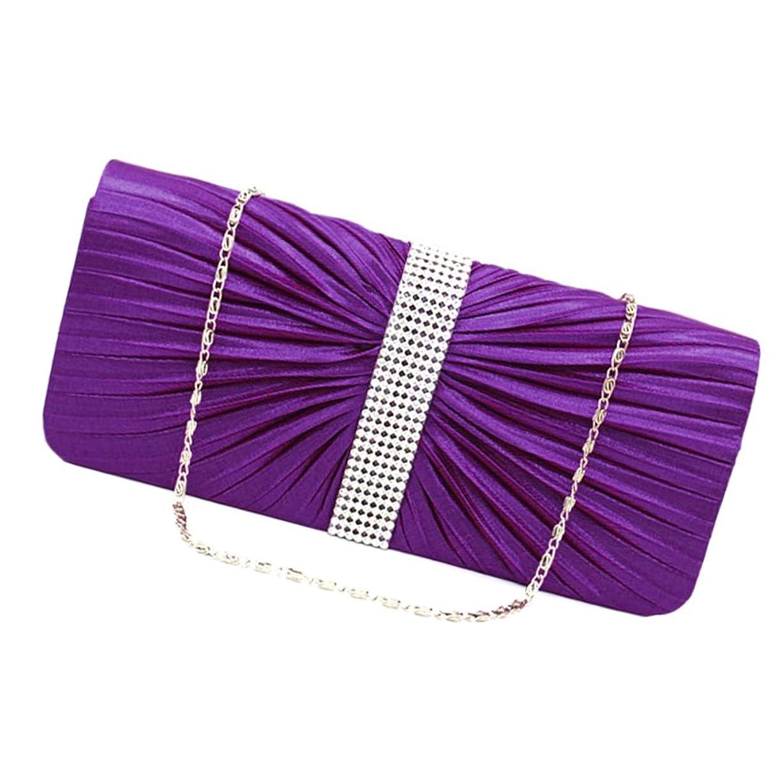 ゲージ組み合わせるもっと【ノーブランド品】 女性 ハンドバッグ エレガント クリスタル サテン プリーツ パーティー結婚式 全6色 - 紫