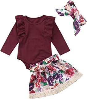 Conjunto de roupas para bebês meninas de manga comprida com babados, estampa floral, borla e vestido curto