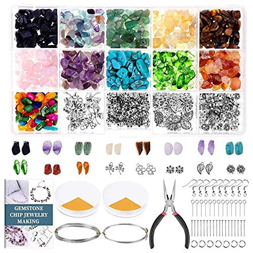 Timagebreze Kit de Piedras Preciosas para Hacer Joyas y Cuentas de Cristal para JoyeríA Pendientes Collares y Pulseras Suministros para Hacer