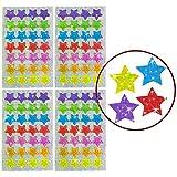 Oblique-Unique® - 112 x Glitzer Sticker Sterne bunt - Regenbogen Sticker für Kinder -