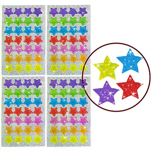 Oblique Unique® - 112 x Glitzer Sticker Sterne bunt - Regenbogen Sticker für Kinder