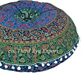 Third Eye Export - 32 in Mandala Barmeri Large Round Floor Pillow Cover Cushion Meditation Seating Ottoman Throw Cover Hippie Decorative Zipped Bohemian Pouf (Blue Six Work Cover)