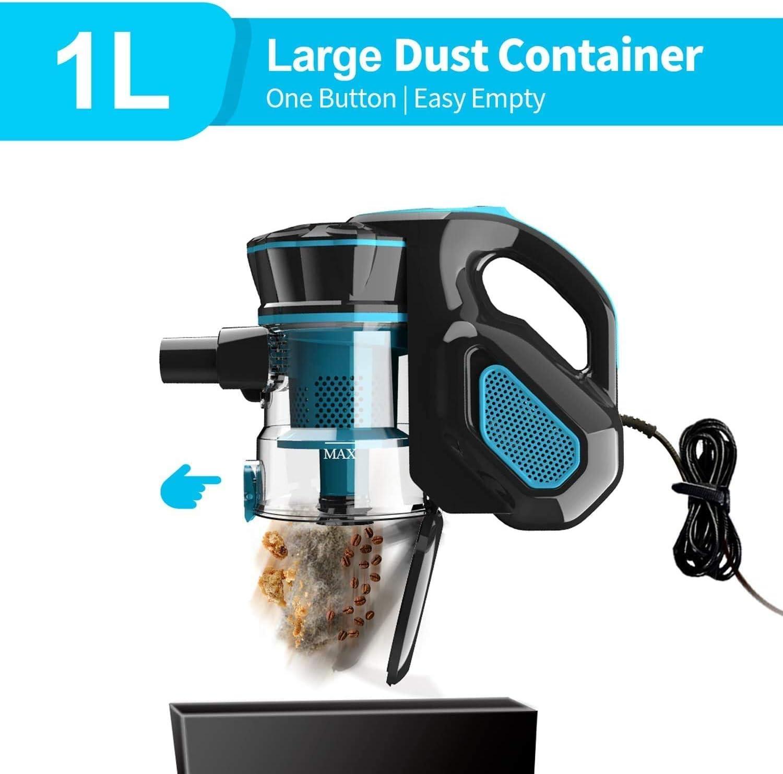 INSE Vacuum Cleaner Corded I5 Stick Vacuum Cleaner 18KPA Powerful Suction 600W Motor Multipurpose 3 in 1 Handheld Vacuum Cleaner Blue
