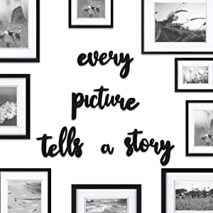Gallery Wall Every Picture Tells a Story Sign Hallway Family photos frame Set Decor Home Photograph Frames Display Saying Decorations Art Series for Parents and Kids BLACK quote