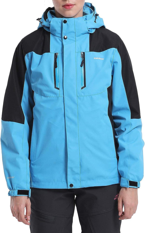 EKLENTSON Damen 3-in-1 Jacke Übergangsjacke Softshell Warme Winter Damenjacke für Winterwandern Abnehmbare Kapuze Blau