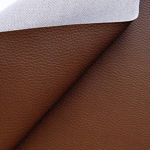 TOLKO Lederimitat mit Rindsleder Optik | weiche Premium Meterware | für Stuhl Bank Sessel Sofa Sitzbezug 140cm breit | Kunstleder Bezugstoff Polsterstoff Polsterbezug Möbelstoff (Nuss Braun)