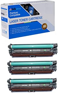 Inksters Compatible Toner Cartridge Replacement for HP 650A (CE270A) Black - Compatible with Color Laserjet Enterprise CP5525 CP5525DN CP5525N CP5525XH (3 Pack)